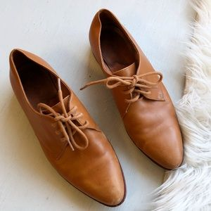 Madewell tan lace loafers / flat booties